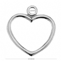 Sterling Silver Heart Charm 15mm Findings
